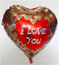 בלון הליום מוכסף לב