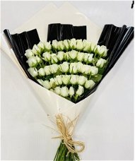 50 ורדים לבנים מדורגים  בעטיפה מדהימה